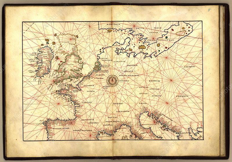 Europe 16th Century Nautical Map Stock Image E056 0075