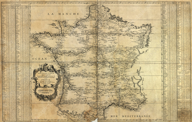 Map of France, 1744