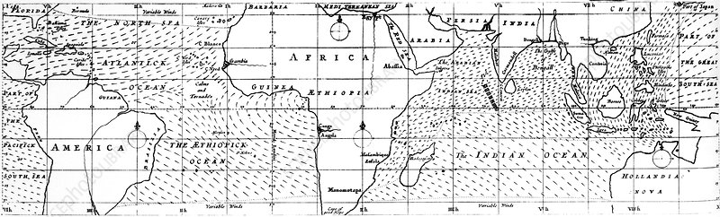 Halley's tropical winds chart, 1686