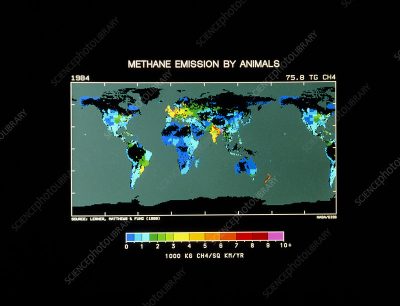 Map of methane emission by animals