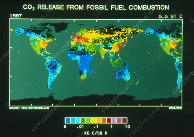 Map of CO2 emission from fossil fuel combustion