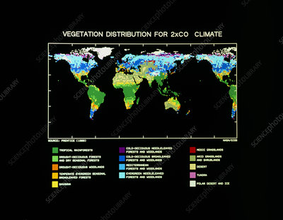 Computer map of vegetation for 2xCO2 climate