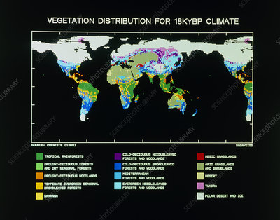 Computer map of vegetation for 18kYBP climate