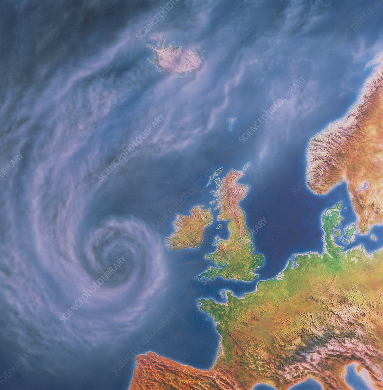 Storm system approaching Europe