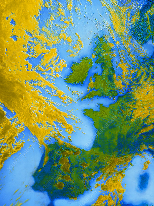False-col Satellite photo of Western Europe