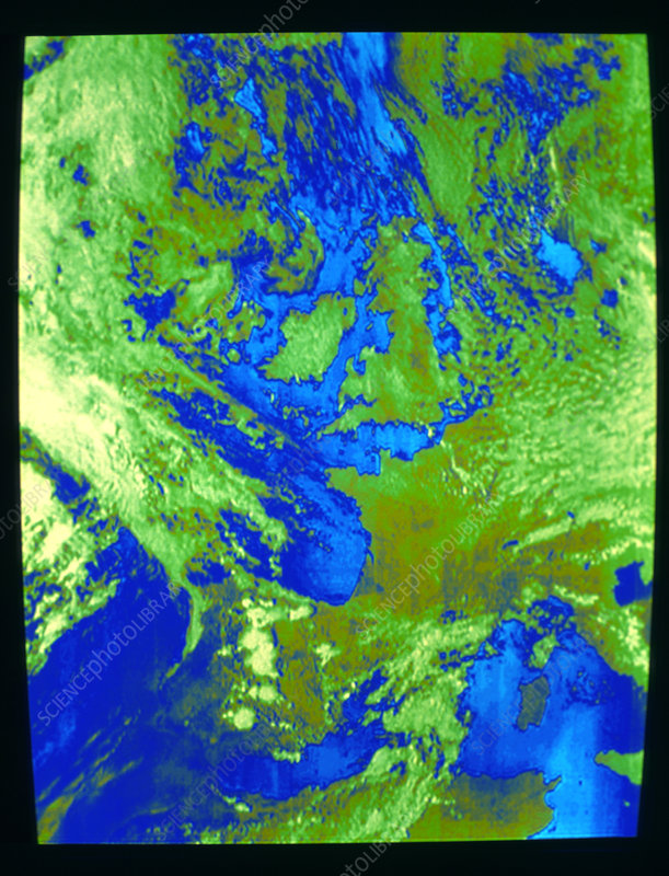Weather satellite image of UK and Europe