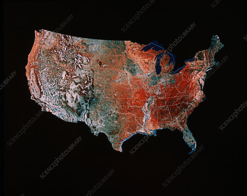 Satellite image of the USA