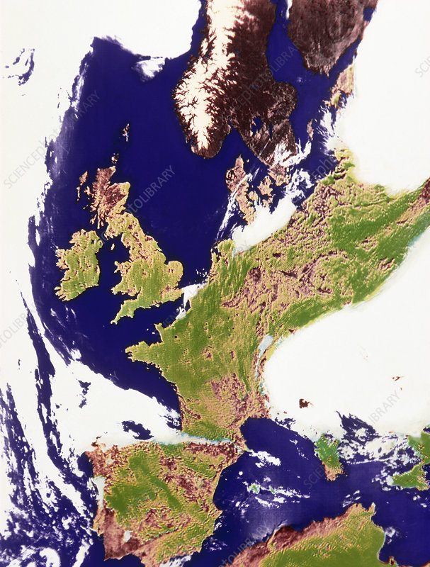 Coloured satellite image of north-western Europe