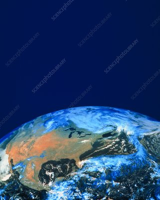 GOES satellite image of continent of N. America