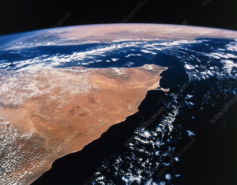 Northern Somalia & Gulf of Aden from space STS-55