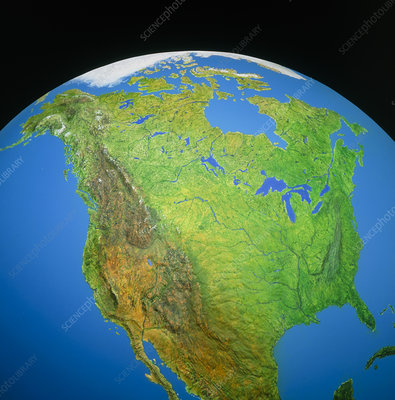 Partial image of the Earth showing North America