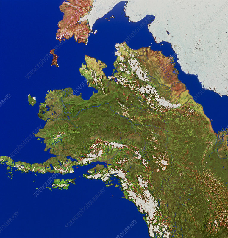 Satellite mosaic of Alaska