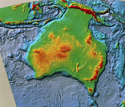 Australia, sea and land topography, SeaSat
