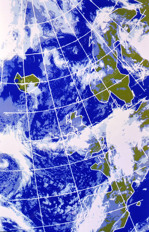 False-colour IR weather map, Europe & N.Atlantic - Stock ... on weather forecast europe map, european union countries map, live weather satellite india map, colorado rocky mountain topographic map, weather satellite california map, weather satellite south america, weather africa satellite map, weather satellite caribbean, weather satellite middle east,