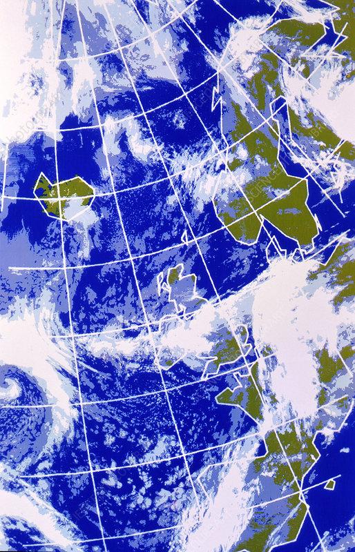 False Colour Ir Weather Map Europe N Atlantic Stock Image