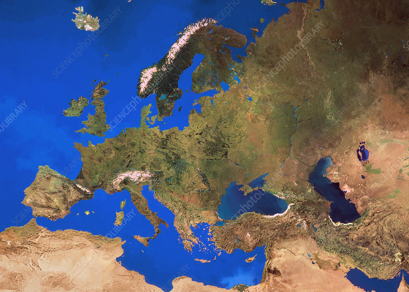 Mosaic of satellite images of Europe