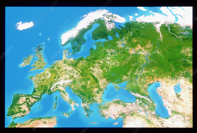True colour satellite image of Europe