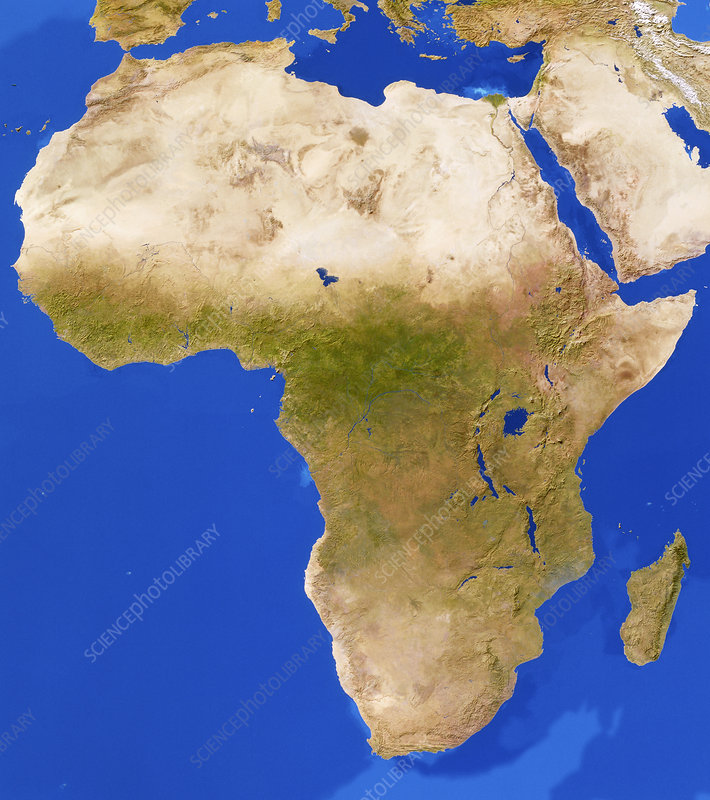 Cloudless satellite image of Africa