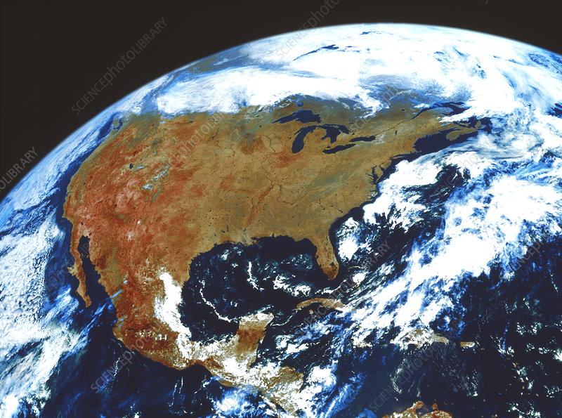 G0ES true-colour satellite image of North America