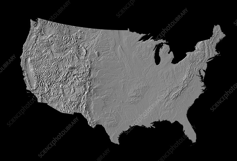 Digital shaded-relief map of the continental USA
