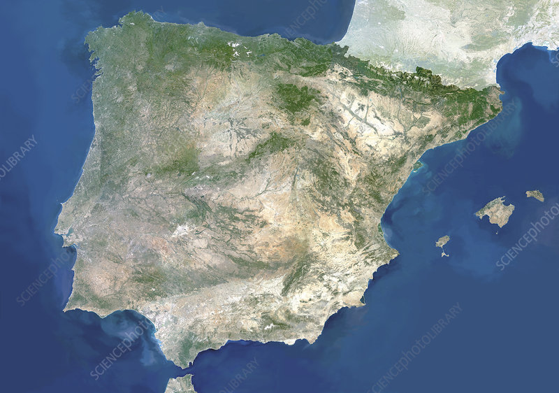 Satellite image of Spain and Portugal