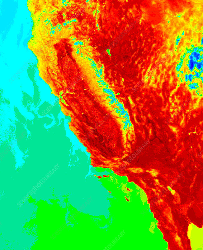 California, USA, surface temperature