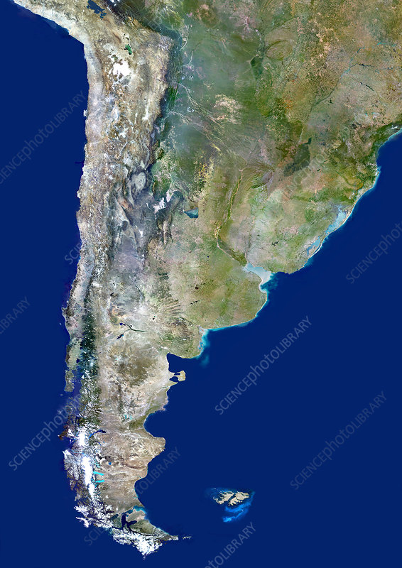 Chile and Argentina, satellite image