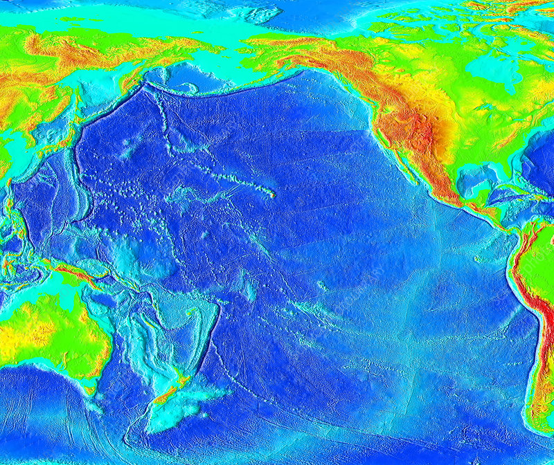Pacific Ocean Topographic Map.Pacific Ocean Topographical Map Stock Image E070 0635 Science