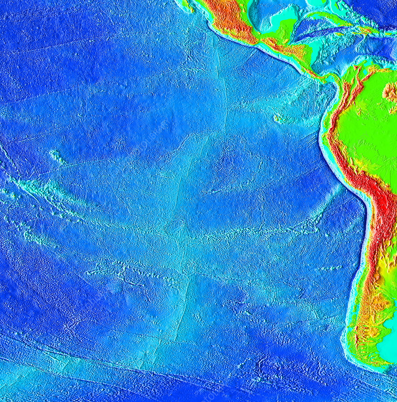 East Pacific Rise, topographical map