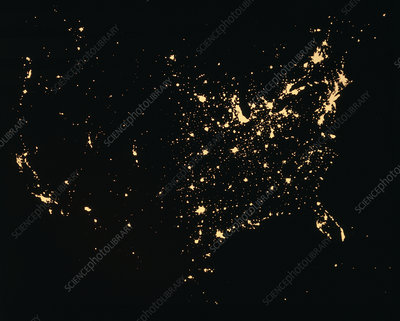 City lights of the USA
