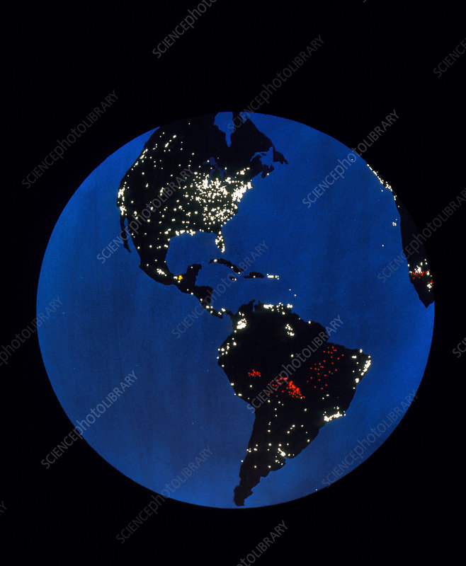 Satellite picture of the Americas at night