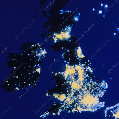 Lights of the UK at night