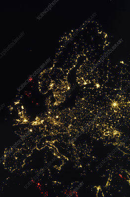 Lights of Europe at night seen from space