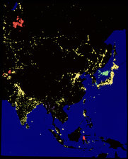 Satellite image of Asia by night