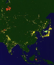 Colour-coded satellite image of Asia by night