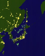 Colour-coded satellite image of Japan by night