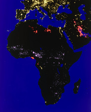 Coloured satellite image of Africa at night