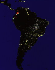 Coloured satellite image of South America at night