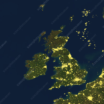 British Isles at night