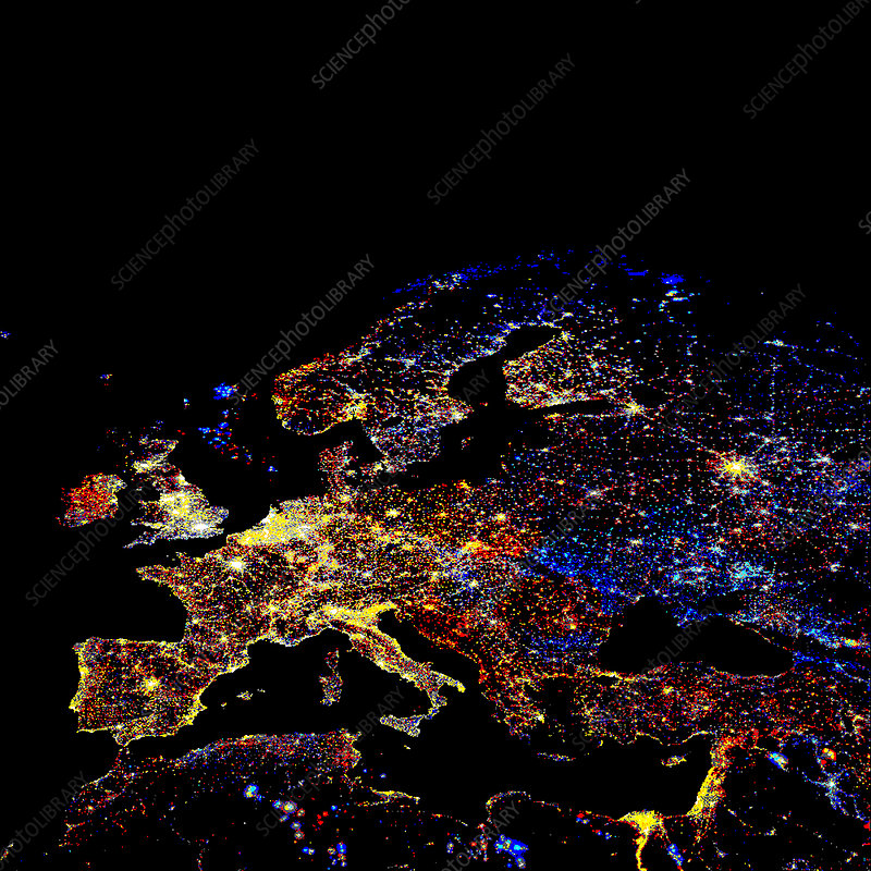 Europe at night, 1993-2003 changes