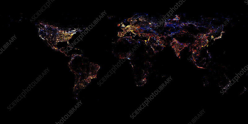 World at night, 1993-2003 changes