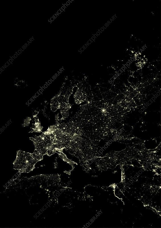 Europe at night, satellite image