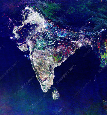 India at night, satellite image