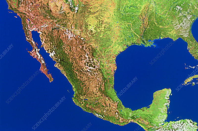 Satellite mosaic of Mexico