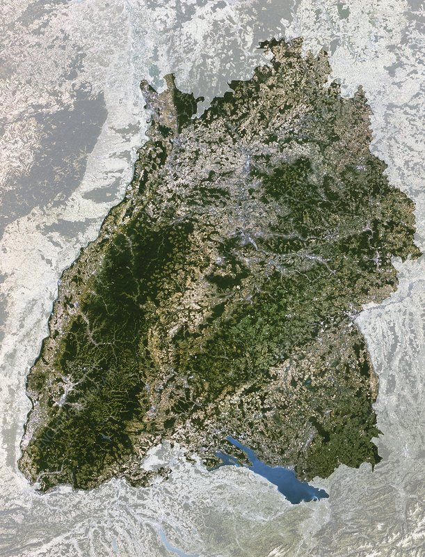 Satellite image of Baden-Wurttemberg, Germany