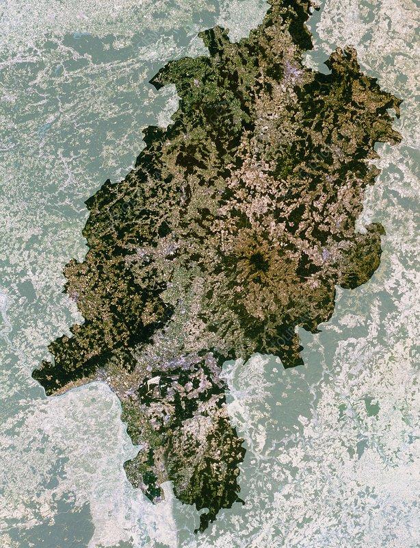 Satellite image of Hesse state, Germany