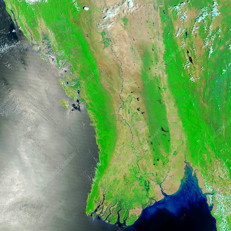 Burma, satellite image, April 2008