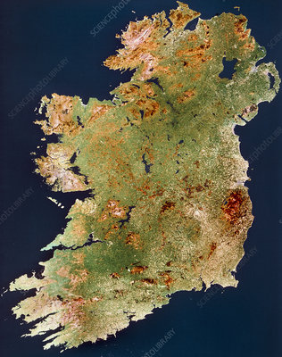Landsat real colour mosaic of whole of Ireland