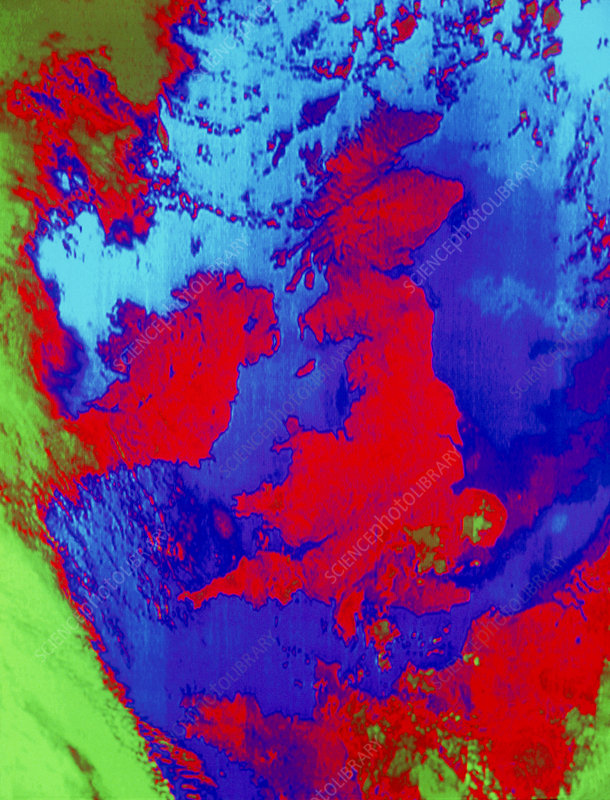Weather satellite image of Great Britain