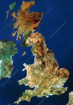 Landsat mosaic of United Kingdom